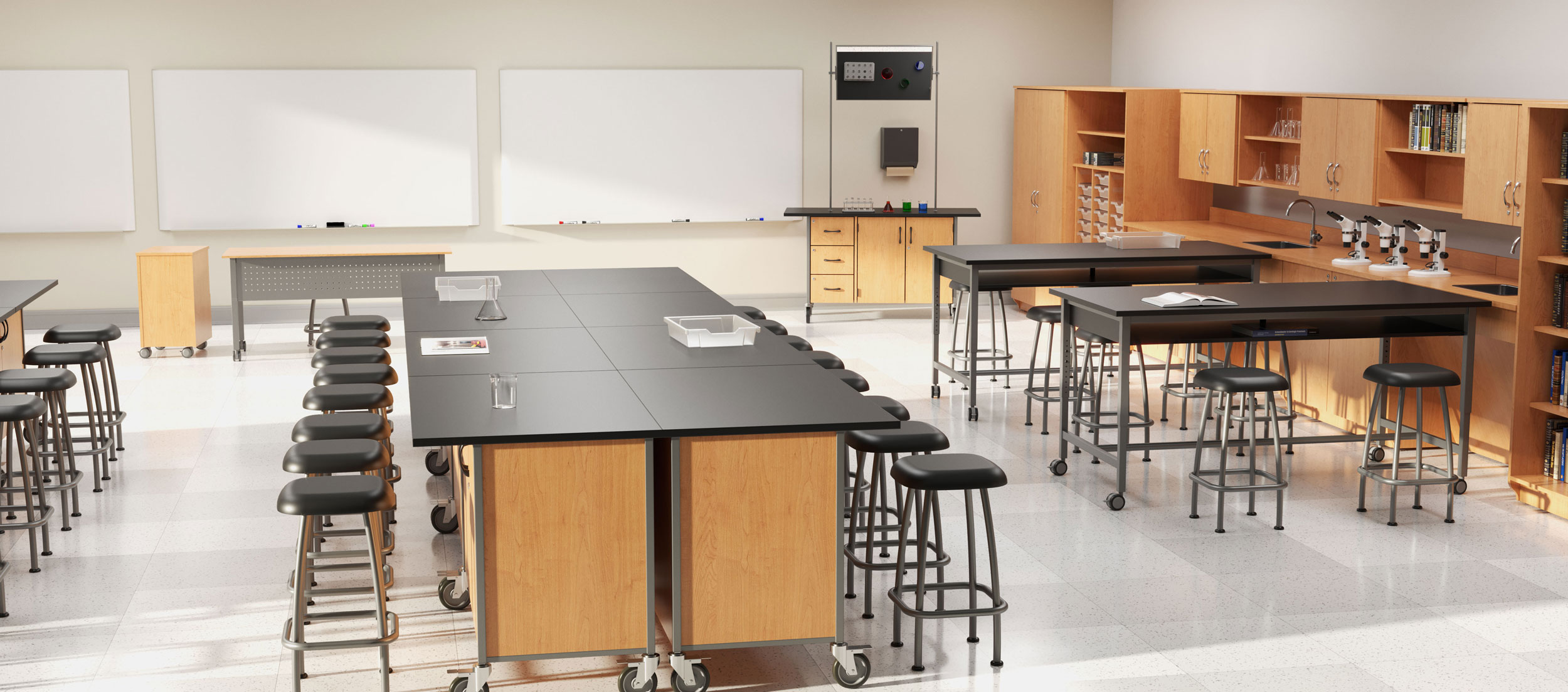 Rendering of the Science collection in the classroom