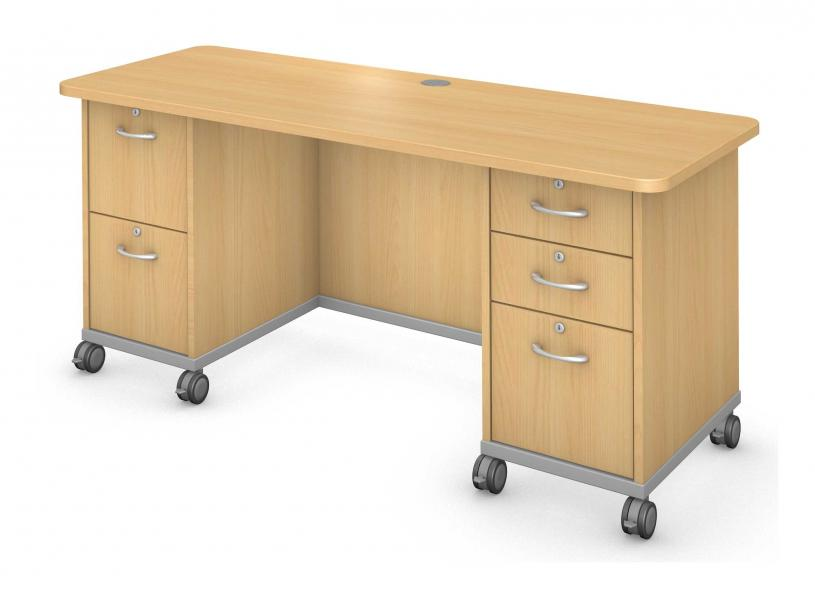 Plane Desk, Double Ped Product Rendering
