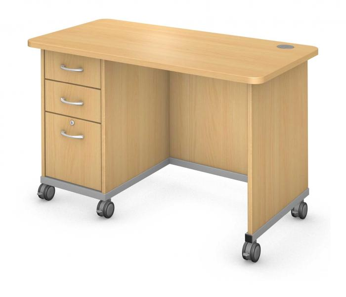 Teacher Desk Single Ped - Locking Drawers Product Rendering