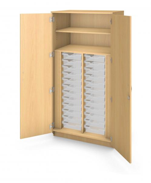 Tall Tray Storage Cabinet Locking Doors - 24 Trays Product Rendering