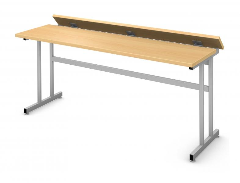 Flip Top Computer Table, Steel Square C-leg Product Rendering