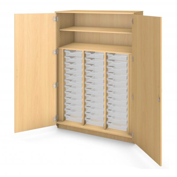 Tall Tray Storage Cabinet Locking Doors - 36 Trays Product Rendering