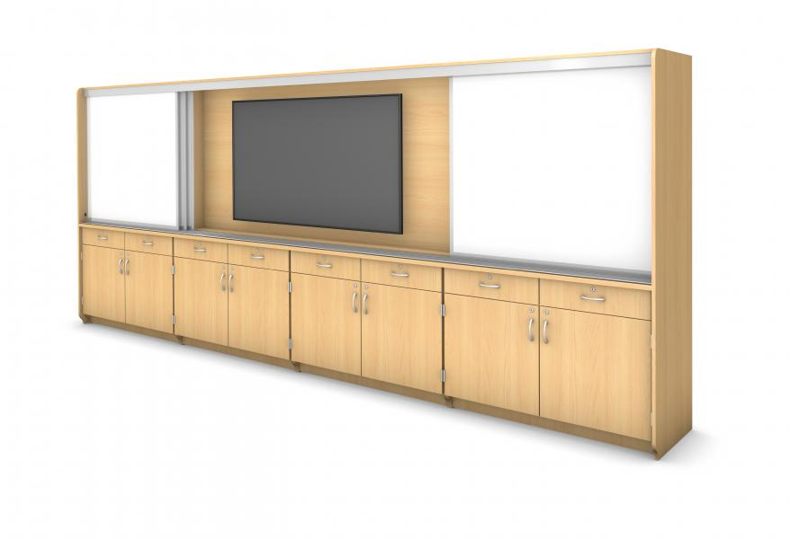 Technology Learning Wall - Locking Drawers & Doors 16' Rendering