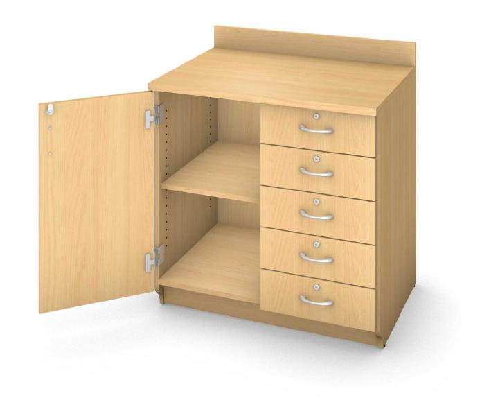 Base Drawer Cabinet - Locking Door & Drawers Product Rendering