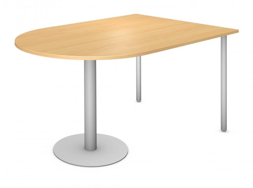 D-Top Table, Steel Round Pedestal and Steel Round Legs Product Rendering