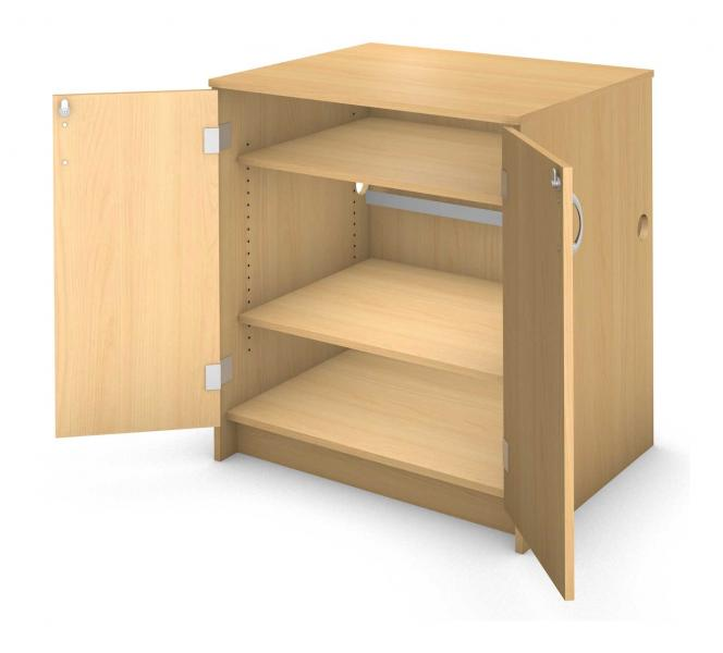 Charge Desk Cabinet - Locking Doors Product Rendering