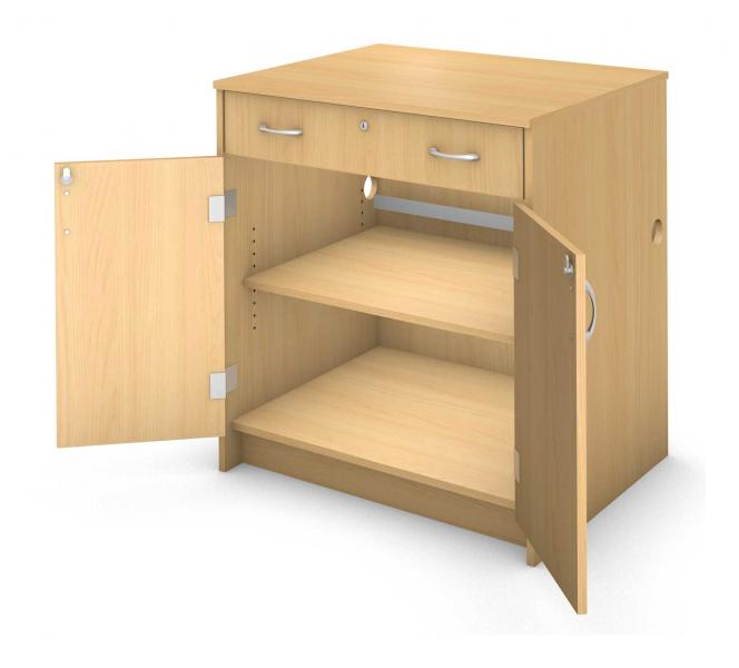Charge Desk Cabinet - Locking Drawer and Doors Product Rendering
