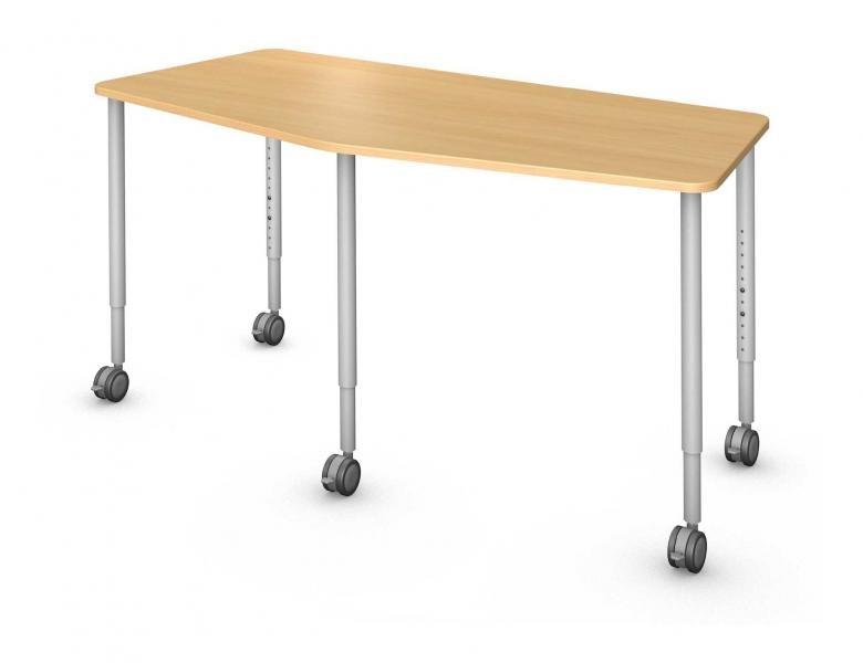 Chevron Table, Steel Round Legs Product Rendering