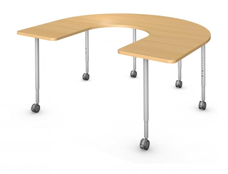Horseshoe Table, Steel Round Legs Product Rendering