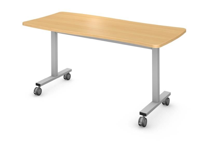 Hourglass Table, Steel Square I-Leg Product Rendering