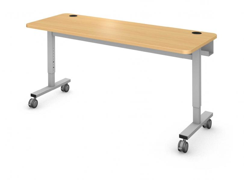 Plane Computer Table, Steel Square I-leg Product Rendering