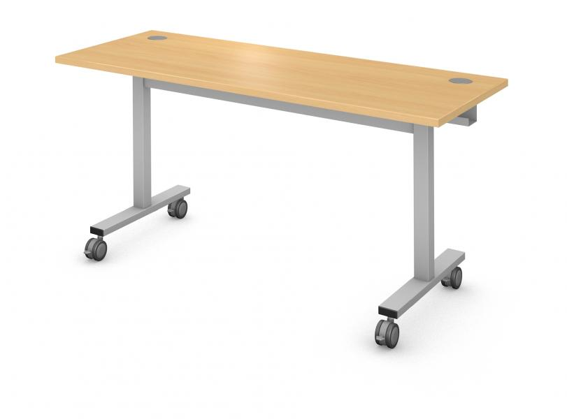 Rectangle Computer Table, Steel Square I-Leg Rendering