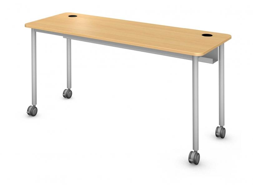 Plane Computer Table, Steel Round Legs Product Rendering