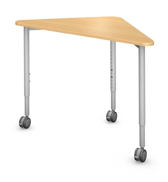 Triangle Desk, Steel Round Legs Product Rendering