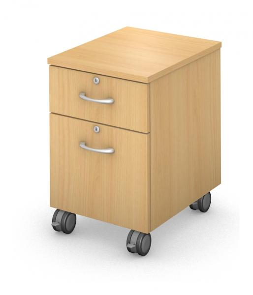 Under Work-Surface, Mobile Ped Box/File -Locking Drawers Product Rendering