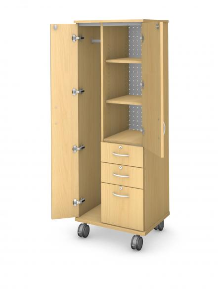 Tall Wardrobe Tower - Locking Doors & Drawers Product Rendering