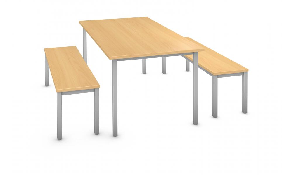 Rectangle Table & Bench (2) - Steel Square Legs Product Rendering