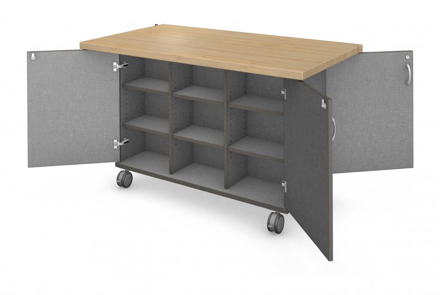 Workstation - Double Sided - 18 Cubby - Locking Doors with Maple Finish