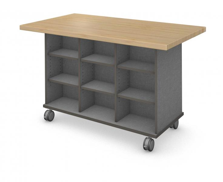 Workstation - Double Sided - 18 Cubby - No Doors with Maple Finish
