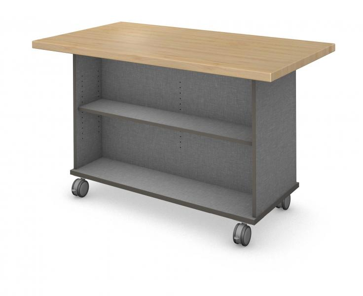 Workstation - Double Sided - Shelf - No Doors Product Rendering with Maple Block Finish
