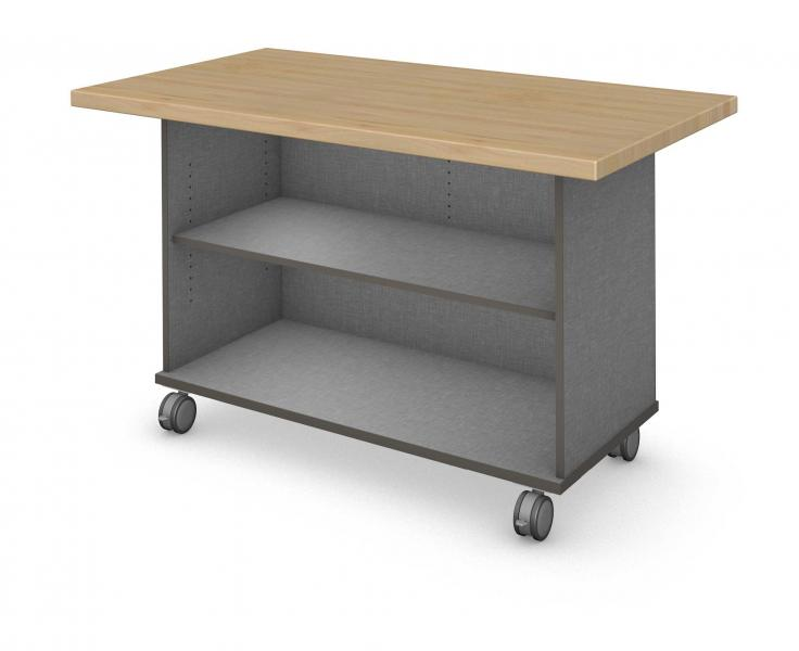 Workstation - Single Sided - Shelf - No Doors With Maple Block