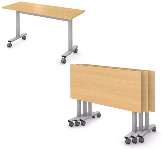 Rectangle Table, Steel Square I-Leg, Flip and Nest Product Rendering
