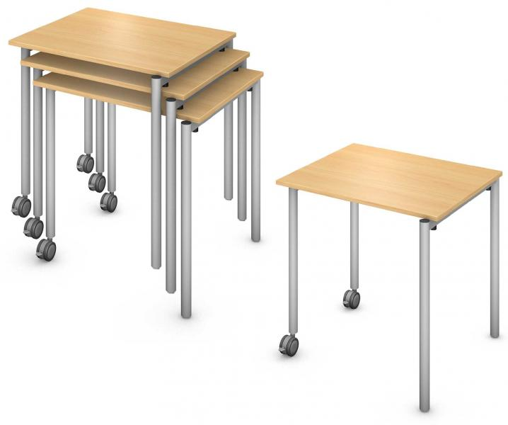 Rectangle Desk, Steel Round Legs, Stacker Product Renderings