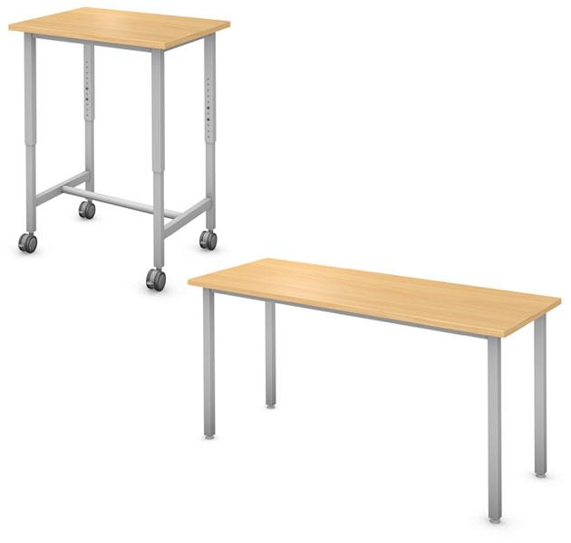 Rectangle Desk and Table, Steel Square Legs Product Rendering