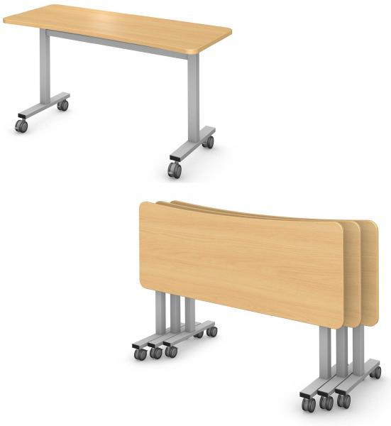 Sidekick Table, Steel Square I-Leg, Flip and Nest Product Rendering